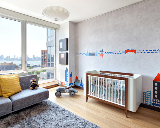 Inspiring Modern Nursery Ideas For Boys : West Chelsea Modern Kids Cool Boy Nursery Modern Bed Awesome Couch Wall Mosaic Wall Decals Gray Fur Rug And Sofa