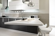 Rustic Elegant Kitchen Appliances Made From Stainless Steel : White Bar Stools Black Counters Stainless Steel Modern And Minimalist Kitchen Appliances Design Ideas