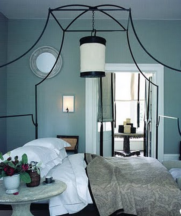 Breathtaking Blue And Gray Bedrooms For Romantic Person : White Canopy  Simple Romantic Long Rectangular Bench