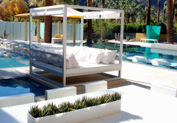 Modern swimming pool designs: White Clean Cozy Comfortable Daybed Canopy Simple Calming Poolside Area Designs ~ stevenwardhair.com Design & Decorating Inspiration