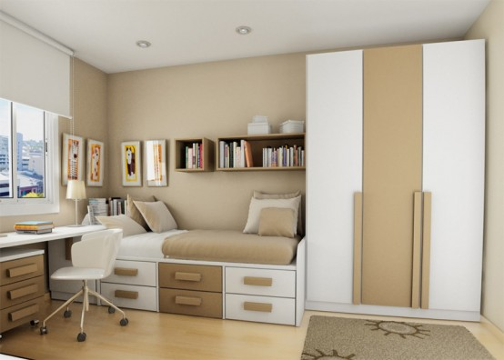 Teenage Bedroom Layouts With Interesting Ideas: White Cream Pallette Bedroom With Small Cozy Sleeping Bed And A Stylish Look Bed And Working Desk Design With Pine Laminated Design Floor