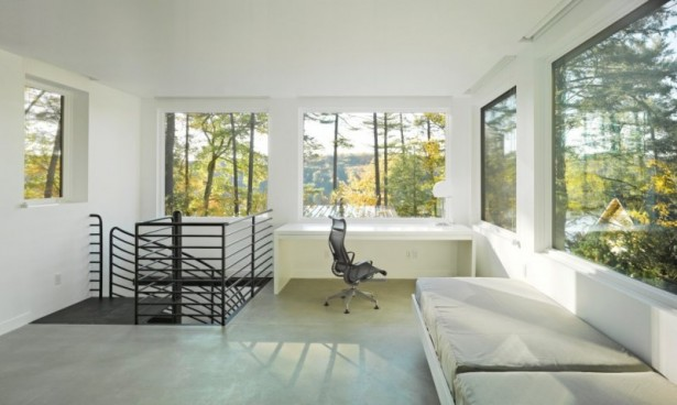 Holiday Getaway for Everyday Living in a Remarkable Vermont Contemporary House: White Desk Table Artistic Swivel Chaie Large Glasses Windows Indoor Stairs Railing Staircase ~ stevenwardhair.com Contemporary Home Design Inspiration