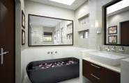 Splendid Bright Bathroom Decoration With Elegant Design : White Elegant Bathrooms Elegant Bathrooms With Amazing Beautiful Stones Wall Decors Ideas