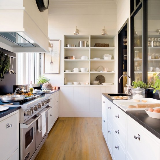 Stylish Design Of A Modern Combined Kitchen And Dining Space: White Kitchen And Dining Space Combined With White Pine Pantry Decoration Complete With Washbasin Stove Refrigerator And Wood Glass Divider To Dinning Table