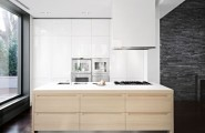 Interesting Decorated House Using Amazing White Color And Minimalist Decoration : White Kitchen Cabinet Hidden Lamps Untreated Wall Laminate Floor Kitchen Island1