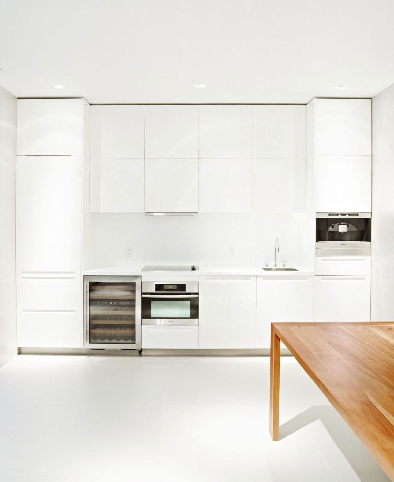 Bright Clean Home Decoration With Small Garden: White Kitchen Cabinet With Simple Wooden In Bayside House