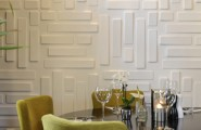 Various Textured Wall At Home Design : White Rectangular Textures For Walls At Contemporary Family Room Round Black Coffe Table Plus Chairs