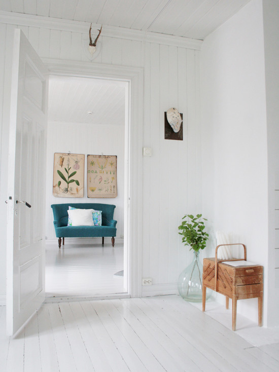 Home Design Pictures Of Painted Wood Floor : White Scandinavian Home Contemporary Living Room White Wood Floors