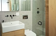 Tiny Yet Very Cosy Studio Apartment Design : White Simple Bathroom Sink With Mirrorred Medicine Cabinet Toilet Clean Bright Compact Very Tiny Loft Studio Design 9 554x820
