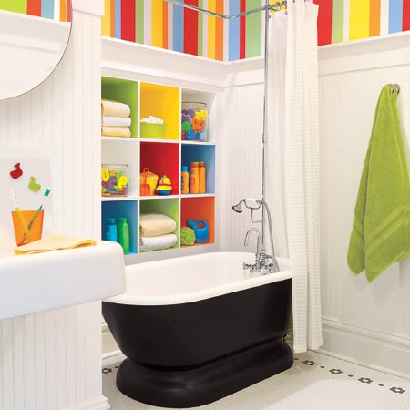 Fascinating Cute Kids Bathroom Decorating Ideas : White Themed Cozy Kids Bathroom Decorating Ideas With Colorful Built In Towel Cabinet With White And Mix Color Wallpaper
