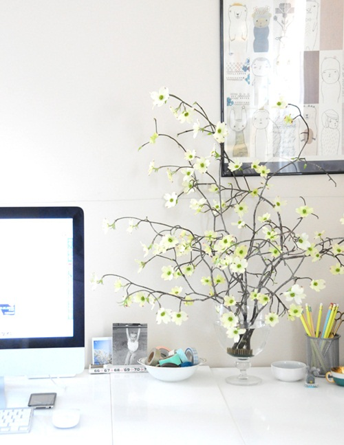 Bright Decoration for Home Office Ideas To Your Workspace: White Themed Fresh Home Office Decor To Bring Spring To Your Home With White Table And Desk Interior With Plastic Flower And Wall Decoration