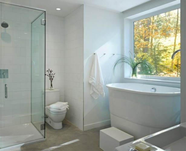 Holiday Getaway for Everyday Living in a Remarkable Vermont Contemporary House: White Water Closet Head Shower Large Oval White Bathtub White Towel Large Glasses Window ~ stevenwardhair.com Contemporary Home Design Inspiration