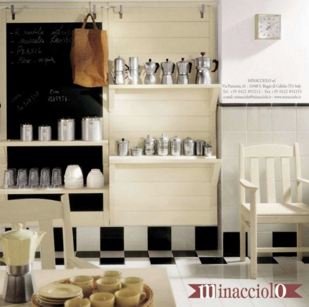 How to Jazz Up Your Family Gathering With an Italian Style Kitchen Design: White Wooden Chair Cutlery Set Wall Clock Kitchen Cabinet Dining Table ~ stevenwardhair.com Kitchen Designs Inspiration