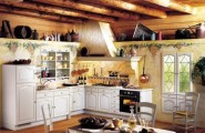 Striking Wooden Furniture In A Lustrous Kitchen : White Wooden Furniture And Brown Wall