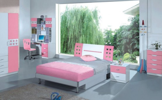 Modern Ideas For Pink Girls Bedrooms : Wide Cool Ideas For Pink Girls Bedrooms With Grey Marbel Floor And Cool Bed With Funny Wallpaper And A Set Study Ad Bay Window