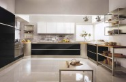 Bright Sleek Bold Black Kitchen : Wide Vast Large Black And White Kitchen Design With Kitchen Pine Color Cabinet Alongside Wood Washbasin Connect To Smetal Stove With Large View High Glass Windowswith Marble Floor