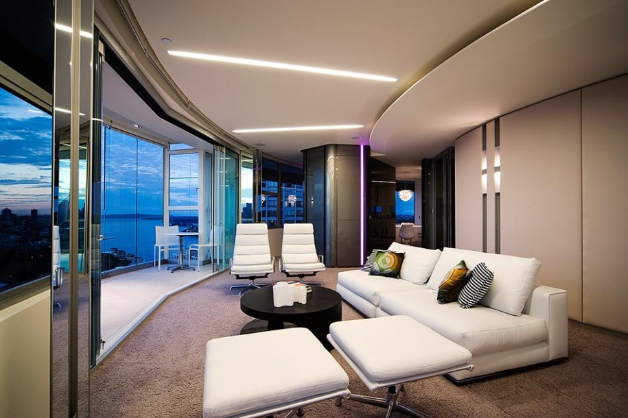 Minimalist Apartment Interior Designs in Modern Way : Wide Windows Grey Rug White Couches Stripes Cushions