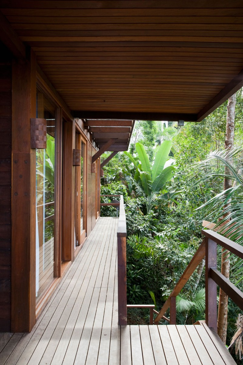 Unusual Wild Nature and Cool Modern Home Designs on Tropical Forest : Wild Nature And Cool Modern Home Entryway Designs With Wooden Floor Wall Lights Trees Outdoor Home Alley Glasses Sliding Doors