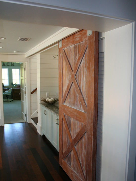 Building The Sliding Barn Door: Williams Residence Traditional Hall Sliding Barn Door