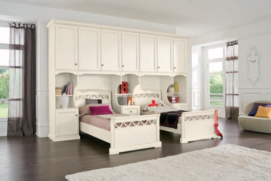 Classic Touchs Girls Room Design Ideas : Witty Warm And Wistful Classic Girls Room Design With White Wood Double Beds With Rug And Prquet Usingbright White Cabinet