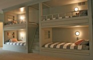 Charming Interesting Bunk Bed Designs For Kids Bedroom : Wonderful Bedroom Design Four Grey Attractive And Unique Design Bunk Beds Amid Wooden Staircase Grey White Stripscozy Bed Covers