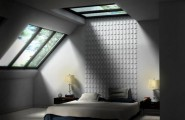 Smart Skylight Ceiling Model For Great Apartment : Wonderful Bedroom Skylight Ideas With Black And White Bed Pillow Blanket And Wooden Sidetable And Glass Roof And Wooden Floor