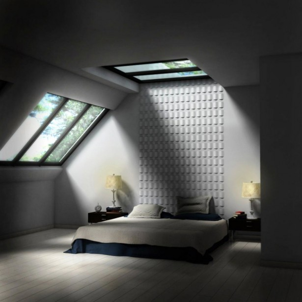 Smart Skylight Ceiling Model For Great Apartment: Wonderful Bedroom Skylight Ideas With Black And White Bed Pillow Blanket And Wooden Sidetable And Glass Roof And Wooden Floor ~ stevenwardhair.com Apartments Inspiration