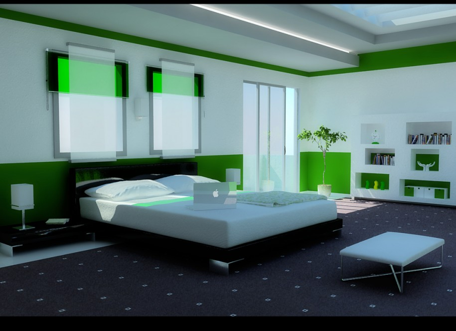 Smart Skylight Ceiling Model For Great Apartment : Wonderful Bedroom Skylight Ideas With Green And White Bedroom Wall And Bed Pillow Blanket And Wooden Nightstand And Window Curtain And Cabinet And Carpet And Skylight Design