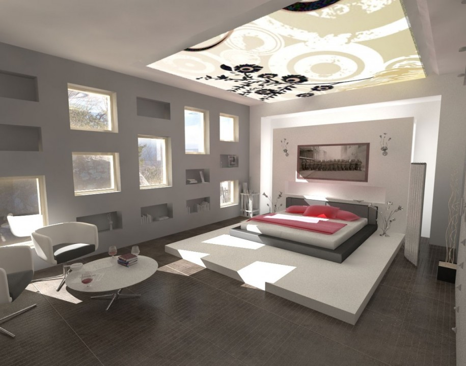 Smart Skylight Ceiling Model For Great Apartment: Wonderful Bedroom Skylight Ideas With Luxury White And Grey Bed And Pink Pillow Blanket And Wooden Table Chair Carpet And Wooden Floor And Glass Roof Design