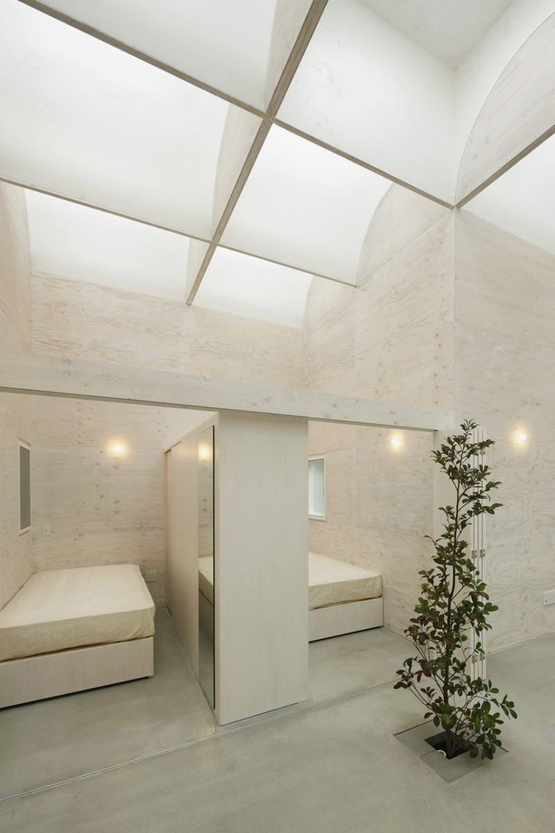 Smart Skylight Ceiling Model For Great Apartment: Wonderful Bedroom Skylight Ideas With White Bed And Lamp And Glass Roof And Green Plant Tree Ornament