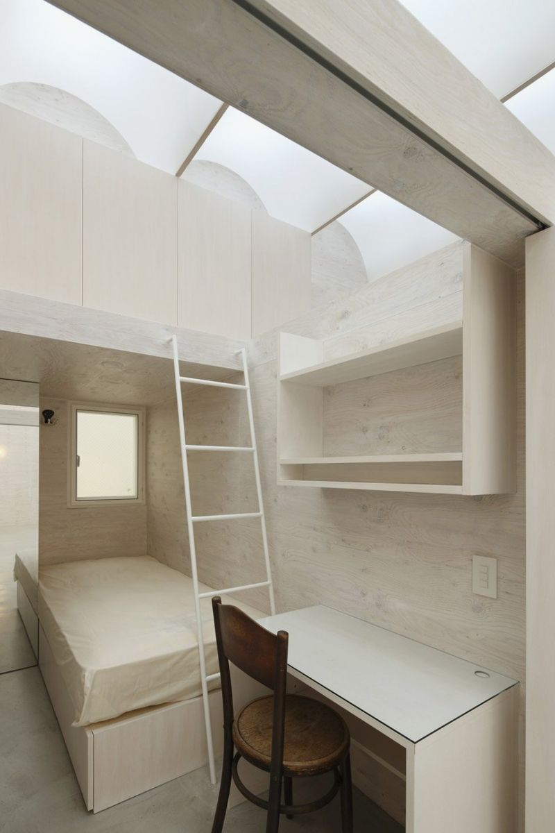 Smart Skylight Ceiling Model For Great Apartment: Wonderful Bedroom Skylight Ideas With White Bedroom Wall And Wooden Desk And Chair And Skylight Design And Ceramic Floor
