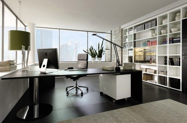 Captivating Modern Home Office Design Ideas : Wonderful Black And White Themed Modern Home Office Interior Design With Desk Swivel Chair Pendant Light Table Lamp Bookshelves Large Window Plant Area Rug And Tile Flooring Ideas