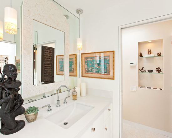 Very Cool Bone Inlay Mirrors : Wonderful Bone Inlay Mirror At Modern Bathroom With Cozy White Color Idea