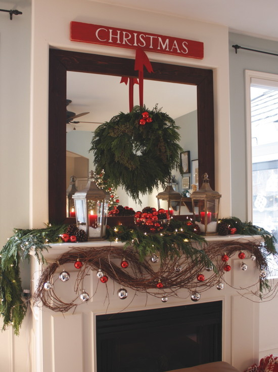 Beautiful Pictures of Mantels Decorated Special For Christmas: Wonderful Contemporary Living Room Christmas Mantels