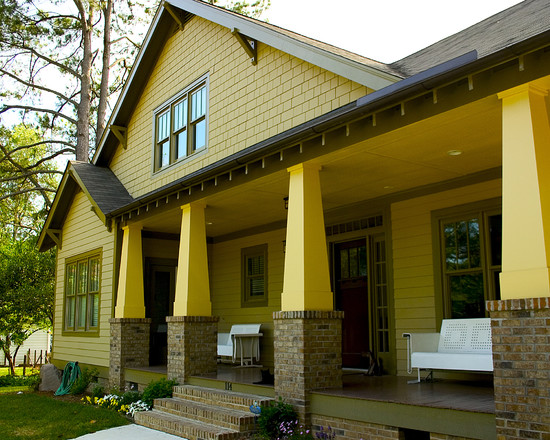 Cozy And Interesting Arts And Crafts Home Interiors: Wonderful Craftsman Exterior Arts And Crafts Home Interiors Open Style Of The Porch And The Combo Of Siding Stone And Shakes Happy With Those Bright Yellow Pillars