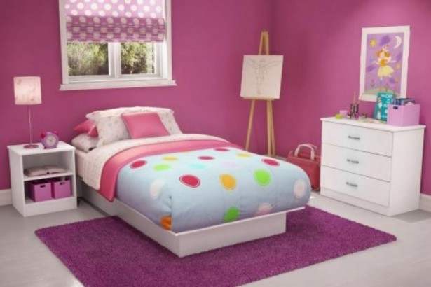 Inspiring Kids Planning Girls Bedroom Using Colorfull Patern: Wonderful Inspiring Girls Planning Bedroom Colorful Planning Design Ideas Pink Painted Wall Gray Floor Design Nice Rug Funny Painting ~ stevenwardhair.com Bed Ideas Inspiration