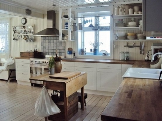 Charming Contemporary Kitchen Design : Wonderful Large Wooden Kitchen Design With White Kitchen Cabinet Alongside Washbasin Metal Stove With Hanging Cupboard And Large View Window With Parquet
