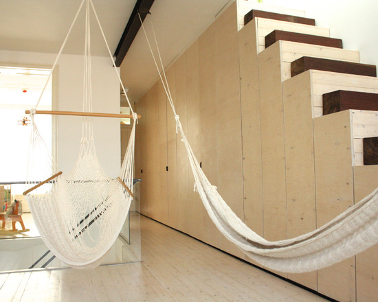 Awesome Hammocks For Indoors: Wonderful Modern Hall With Hammocks For Indoors Supports To The Ceiling In The Basement And Cool Stairs