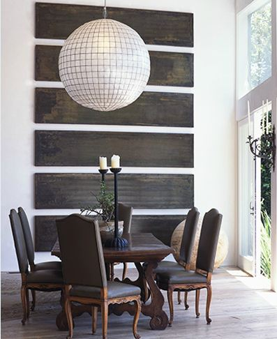 Oversized Pendant Lights Design : Wonderful Oversized Pendant Lights At Lisa Romerein Dining Room Capiz Shell Art Reclaimed Wood Slats Louis Xv Chairs Wood Table