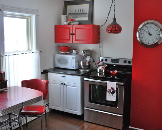 Inexpensive Or Cheap Retro Furniture Pictures : Wonderful Retro Kitchen Red Furniture And Wall And The Use Of A Small Space