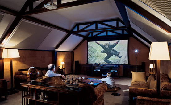 Home Theater Room Planning Ideas: Wonderful Sloping Ceiling Home Theater Interior Designs With Sofa Cushions Shelf Lamps Big Screen Ideas ~ stevenwardhair.com Chairs Inspiration