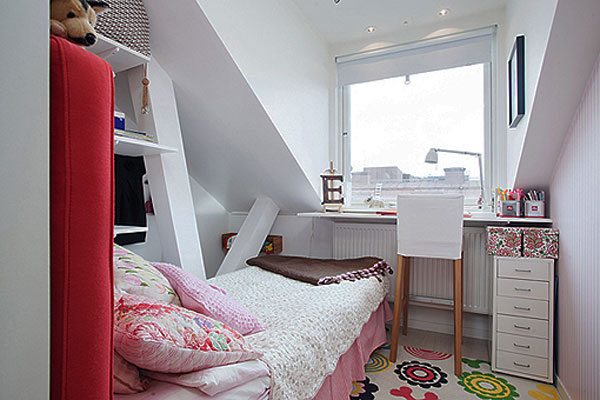 Excellent Ideas To Make Small Bedroom Look Bigger: Wonderful Small Attic Bedroom Design With Large Window Wall Mounted Desk Chest Of Drawer Bed Rug And Wooden Flooring Ideas ~ stevenwardhair.com Bed Ideas Inspiration
