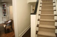 Excellent Striped-Stair-Runner For Staircase : Wonderful Stripe Stair Runner That Is Fabricated From Wall To Wall Broadloom Carpet At Traditional Staircase