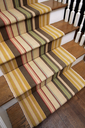 Excellent Striped-Stair-Runner For Staircase: Wonderful Stripes White Risers Wood Reads Staircase