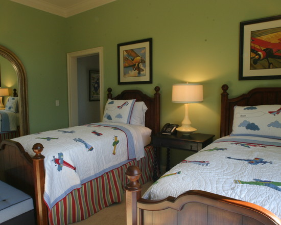 Amazing Boys Bedroom Paint Color Schemes : Wonderful Traditional Kids Boys Bedroom Color Schemes With Large Mirror On Left Beds And Painting Similar Yet Not Same
