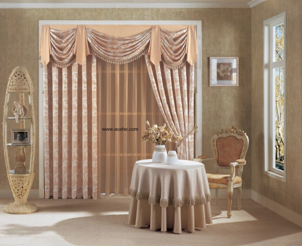 Amazing Popular Modern Windows Curtain Style: Wonderful Windows Curtain Designs With Elegant Brown White Floral Decor Nice Small Round Table And Custom Oval Shapes Cabinet ~ stevenwardhair.com Design & Decorating Inspiration