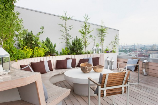 Inspiring Cozy Apartment Design Ideas In Bright Colors: Wooden Deck Bench With Outdoor Outstanding Laminated Wooden Floor Grey And Chocolate Cushions Balcony Garden Tabletop ~ stevenwardhair.com Apartments Inspiration
