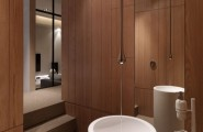 Smart Contemporary Apartment for Urban Worker : Wooden Modern Bathroom Fashion Designs And Italian Bath