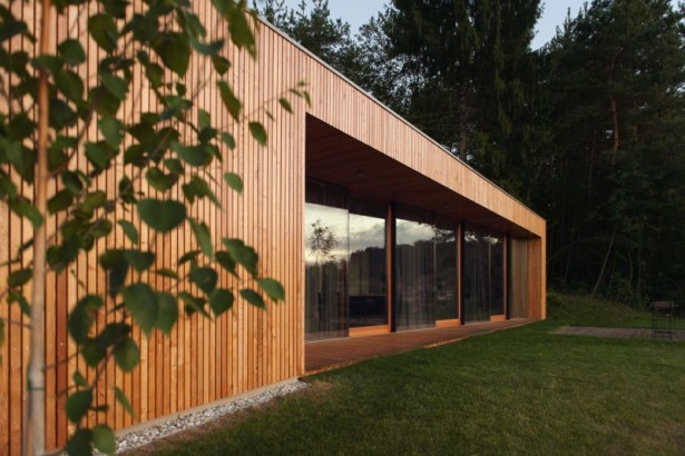 How to Complement Your House Design Using Open Light Style: Wooden Outdoor Wall Gravel Stones Meadow Yard Large Glasses Windows Trees ~ stevenwardhair.com Tips & Ideas Inspiration