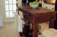 Vintage Wooden Kitchen Island Designs : Wooden Vintage Kitchen Island Made From Wood With Contemporary Design And White Chair With Elegant Pantry And White Door